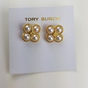 Tory Burch Rope Clover Pearl Stud Earrings $69